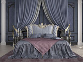 Interior of a classic style bedroom in luxury villa. 3d rendering — Stock fotografie