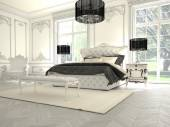 Interior of a classic style bedroom in luxury villa. 3d rendering — Stok fotoğraf
