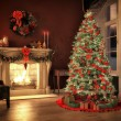 Christmas scene with gifts and fire in background. 3D rendering — Foto de Stock   #59027175