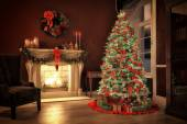 Christmas scene with gifts and fire in background. 3D rendering — Stock Photo