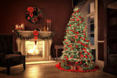 Christmas scene with gifts and fire in background. 3D rendering — Stok fotoğraf