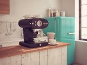 Coffeemaker and cup of coffee in kitchen interior. 3d rendering — Stock Photo