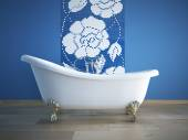 Vintage bath tube in a room with colorful wall. 3d rendering — Stock Photo