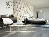 Big modern Bedroom in an apartment. 3d rendering — Stock Photo
