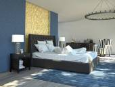 Big modern Bedroom in an apartment. 3d rendering — Stok fotoğraf
