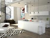 Moderne loft met een keuken. 3d-rendering — Stockfoto