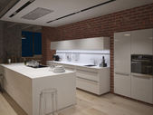 Contemporary steel kitchen in converted industrial loft. 3d rendering — Foto Stock