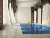Inddor swiming pool in a loft. 3d rendering — Stock Photo