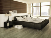 Big modern Bedroom in an apartment. 3d rendering — Stock Photo