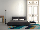 Big modern Bedroom in an apartment. 3d rendering — Photo