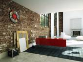 Loft interior with brick wall and coffee table. 3d rendering — Stock Photo