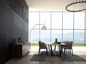 Modern Design White Dining Room Interior Architecture. 3d rendering — Stock Photo