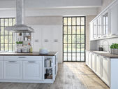 Luxurious kitchen with stainless steel appliances. 3d rendering — 图库照片