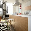 Modern loft with a kitchen. 3d rendering — Stock Photo #59488573