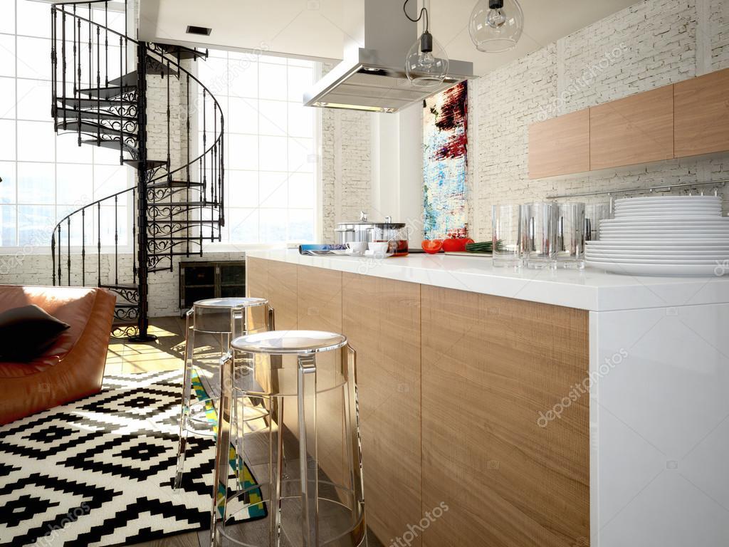 moderne loft mit einer küche. 3d-rendering — stockfoto © 2mmedia, Hause ideen