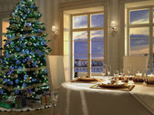 Christmas themed dinner table. 3d rednering — Stock Photo