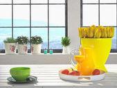 Yellow tulips on kitchen — Stock Photo