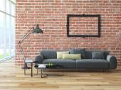 Loft interior with brick wall and coffee table — Stock Photo