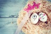 White egg with funny face — Stock Photo