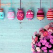 Hand-painted easter eggs with tulips — Stockfoto #62275183