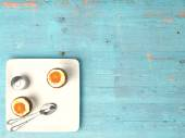 Fresh eggs on wood background. — Stock Photo