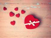 Red heart on wooden background — Stock Photo