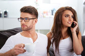 White Sitting Couple in Casual Clothing Having Coffee — Stock Photo