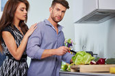 Romantic young couple preparing dinner. — Stockfoto