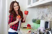 Young Woman Cooking. Healthy Food — Stock Photo
