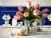Fresh yellow tulips on kitchen background. 3d rendering — Stock Photo