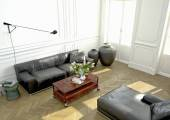 Interior Design, Living room. 3d rendering — Stock Photo