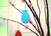 Easter eggs decorations on wooden table. 3d rendering — Stock Photo