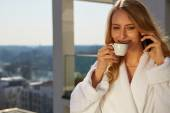 Drinking coffee at home. — Stock Photo
