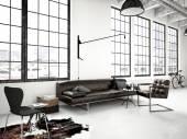 Modern industrial loft. 3d rendering — Stock Photo