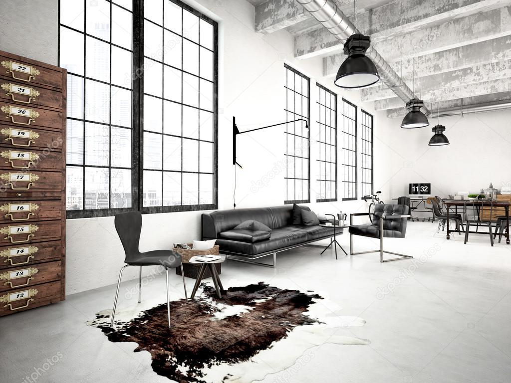 moderno loft industrial render 3d foto de stock 2mmedia 74095385. Black Bedroom Furniture Sets. Home Design Ideas