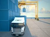 Truck with containers. 3d rendering — Stock Photo