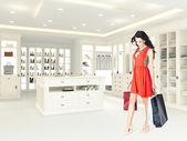 Donna in un armadio aperto. rendering 3D — Foto Stock