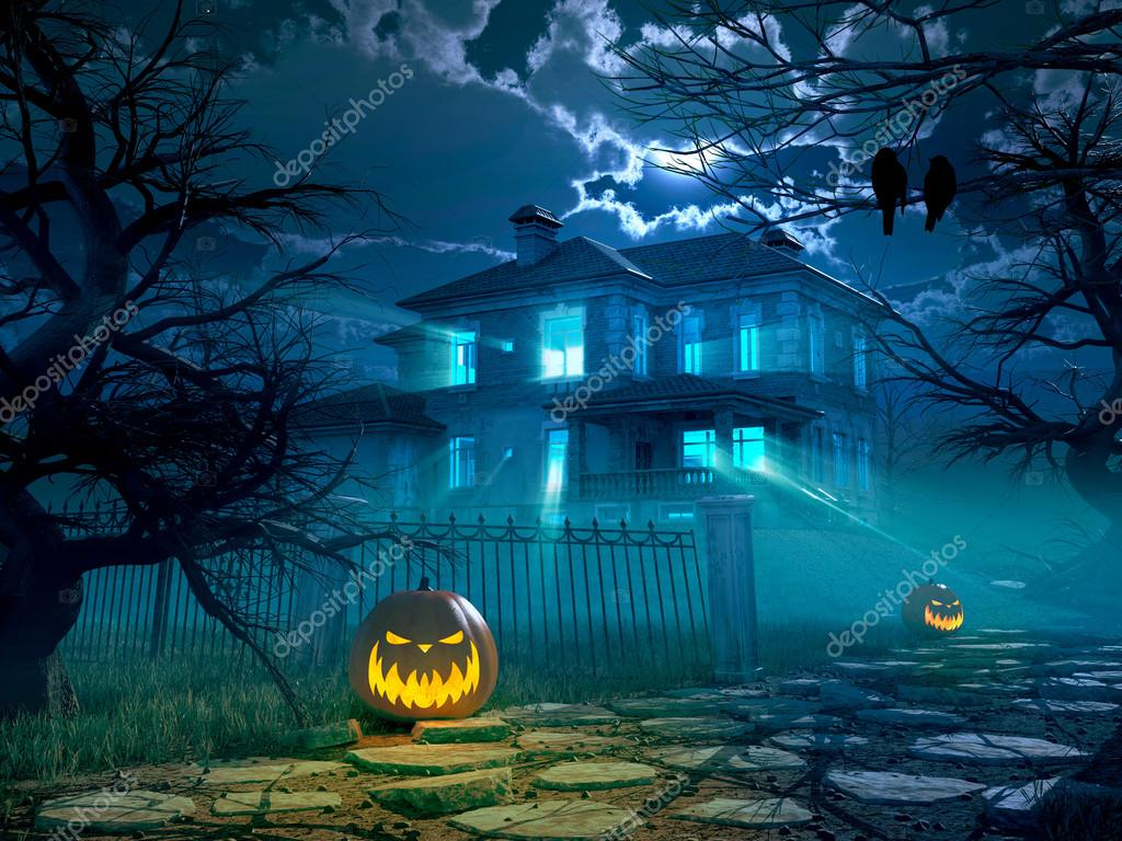 Castle House Plans Halloween Night Background With Scary House 3d Rendering