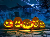Halloween night background with scary house. 3d rendering — Stock Photo