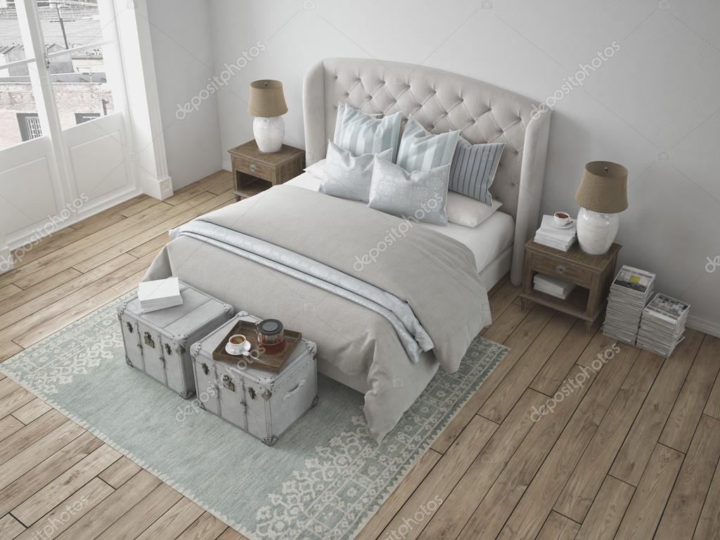 Camera da letto stile vintage di lusso. rendering 3D — Foto Stock ...