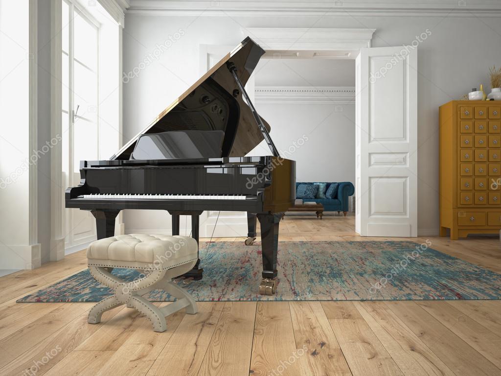 Svart piano i ett vardagsrum. 3D-rendering — Stockfotografi ...