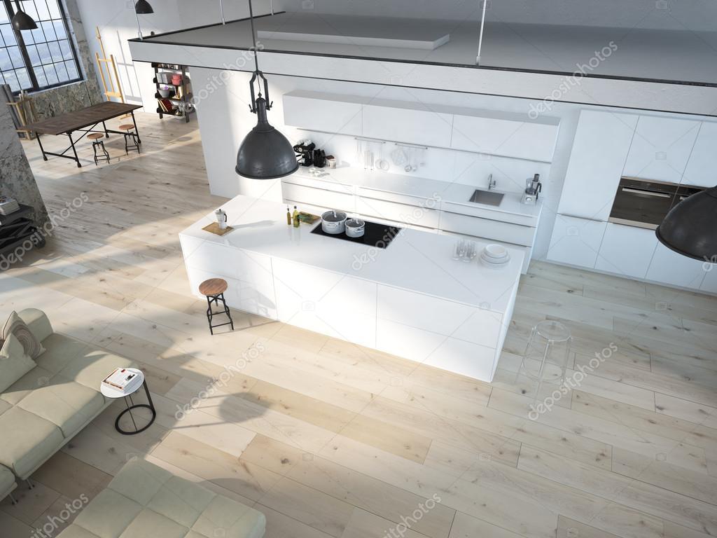 moderne loft mit einer küche .3d rendering — stockfoto © 2mmedia, Hause ideen