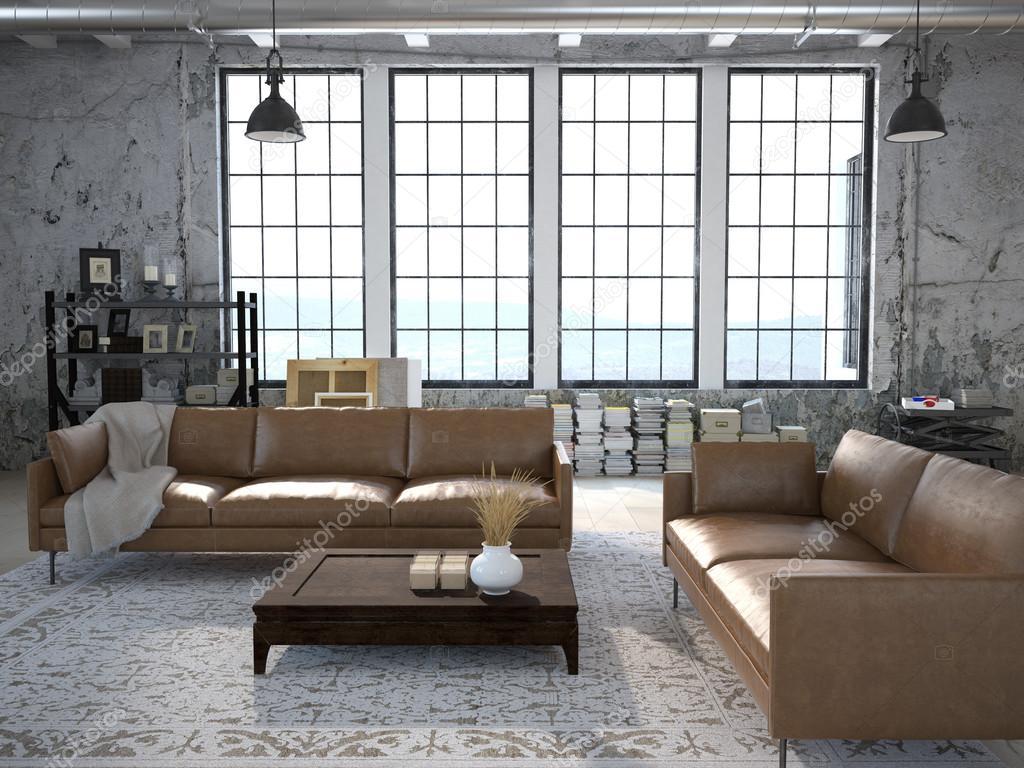 Salone moderno con finestre enormi. rendering 3D — Foto Stock ...