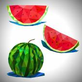 Low poly of the watermelon — Stock Vector