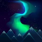 Northern lights over mountains — Stock Vector