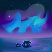 Polar bears under the auroral sky — Vector de stock