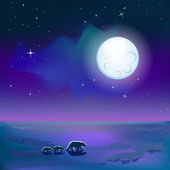 Polar bears under moon — Vector de stock