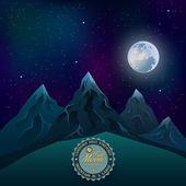 Moon over the mountains — Stock Vector