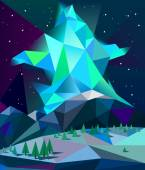 Low poly northern lights — Stock Vector