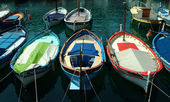 Colorful boats in sunlight in Port of Nice, France — Stock Photo